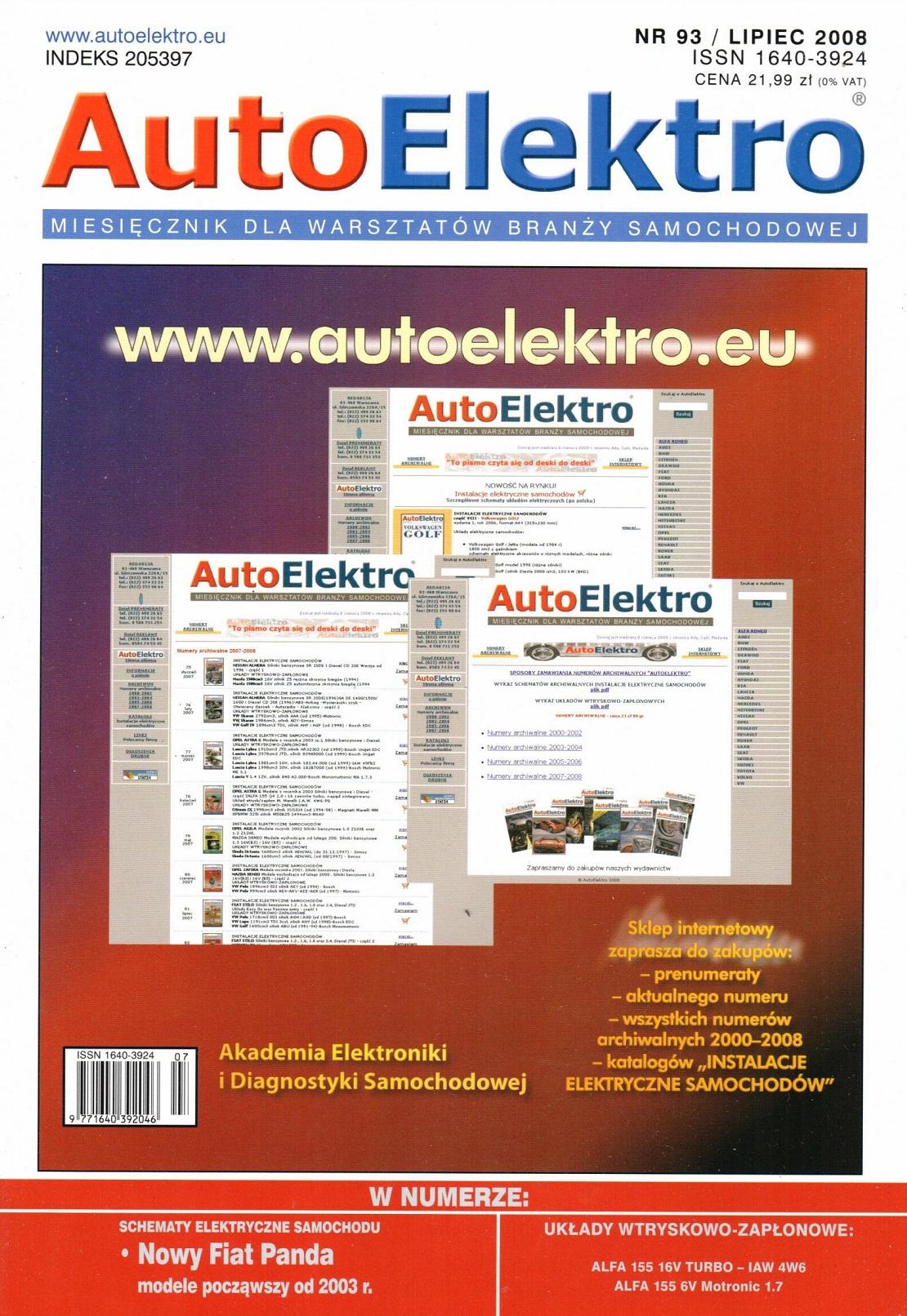 Najnowsze AUTOELEKTRO 093 (schemat elektryczny: FIAT PANDA) :: MOTOHELP NG85